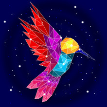 Low Poly Hummingbird With Galaxy Background.
