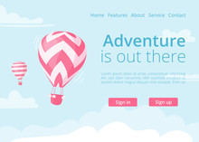 Online Booking Website Hot Air Balloon Vector Illustration. Travel Booking Web Page Template For Adventure Online Reservation Service With Flat Red Color Hot Air Balloon On Blue Mountain Landscape.