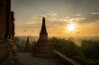 Leinwanddruck Bild - Sunrise over Pagan historical site Unesco Bagan Myanmar