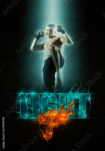 Obrazy MMA   fight-night-poster-mma-male-fighter-kick