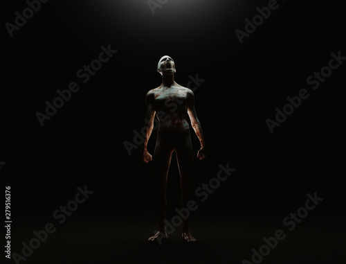 Creature from another planet, weird creature or zombie, 3d rendering Fototapeta