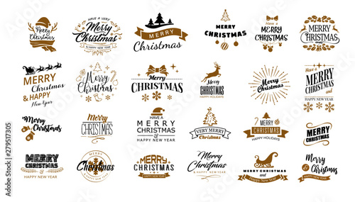 Fototapeta Lettering. Merry Christmas. Happy New Year, Typography set. Vector logo, emblems, text design. Usable for banners, greeting cards, gifts etc obraz na płótnie
