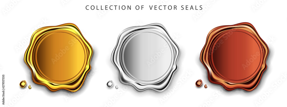 Fototapeta Gold, silver, bronze stamp wax seal approval vector sealing retro label set. Quality garantee label. Elite