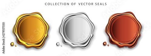Foto Gold, silver, bronze stamp wax seal approval vector sealing retro label set