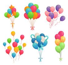 Cartoon Birthday Balloons. Col...