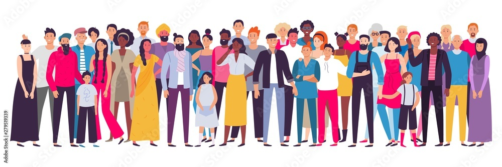 Fototapety, obrazy: Multiethnic group of people. Society, multicultural community portrait and citizens. Young, adult and elder people vector illustration