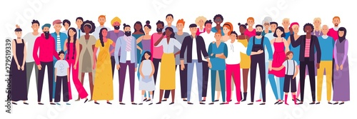 Multiethnic group of people. Society, multicultural community portrait and citizens. Young, adult and elder people vector illustration