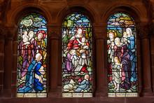 Church Stained Glass Window As Shot From The Inside