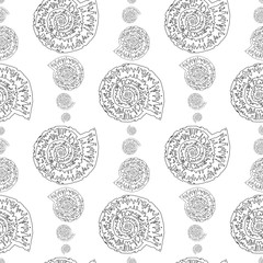 Fototapeta Marynistyczny Seamless pattern of outlines of stylized fossil mollusk