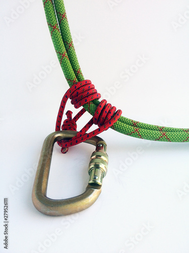 maontaineering techniques abseil or rappel prusik knot on carabiner Wallpaper Mural