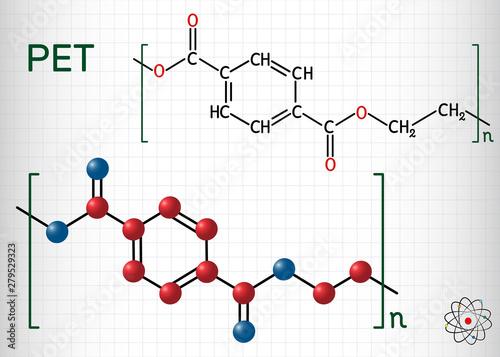 Fotografía Polyethylene terephthalate or PET, PETE polyester, thermoplastic polymer molecule