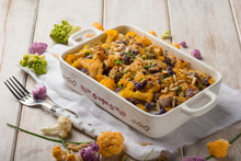 Oven Mixed Color Cauliflower With Pine Nuts And Cheese