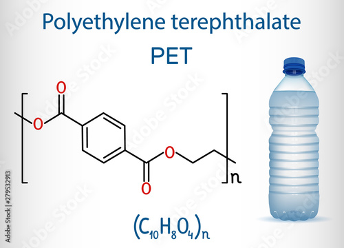 Photo  Polyethylene terephthalate or PET, PETE polyester, thermoplastic polymer molecule with plastic bottle