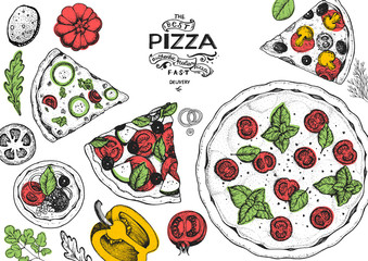 Panel Szklany Do pizzerii Italian pizza and ingredients top view frame. Italian food menu design template. Vintage hand drawn sketch, vector illustration. Engraved style illustration. Pizza label for menu.