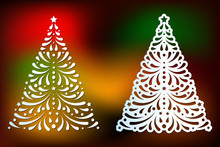 Laser Cut Christmas Tree Templates Set With Swirls Pattern. Element For Xmas Decoration. Image Suitable For Laser Cutting, Plotter Cutting Or Printing.