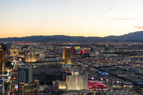 Photo  Aerial view of Las Vegas strip in Nevada as seen at night USA