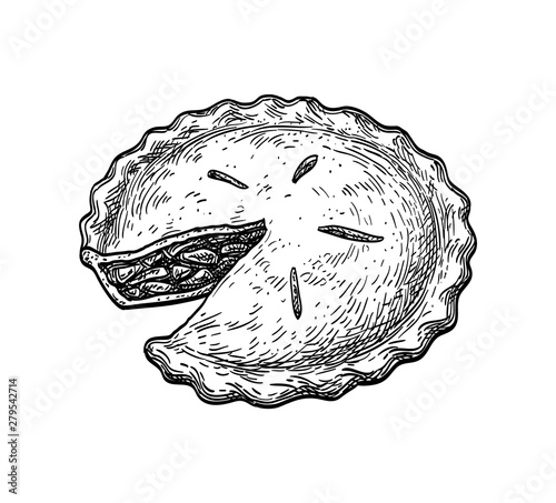 Photographie Ink sketch of apple pie