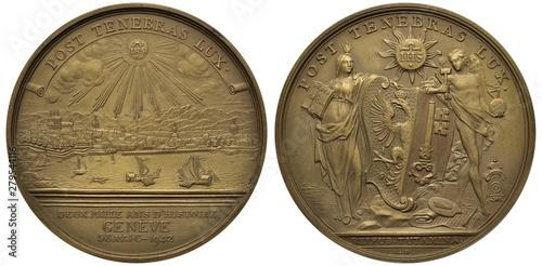 Photo  Switzerland Swiss medal 1942, subject 2000 Years of History of Geneva, city view