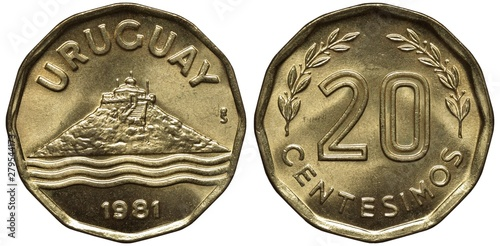 Photographie  Uruguay Uruguayan coin 20 twenty centesimos 1981, building on top of hill, styli