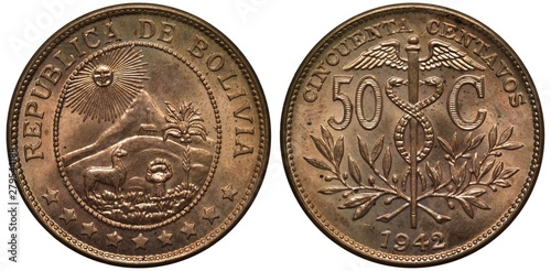 Photo  Bolivia Bolivian coin 50 fifty centavos 1942, radiant sun above hut on hill, lam