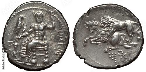 Photo Antique silver coins of Cilicia, stater 361-334 BC, Persian Satrap Mazaeus on th
