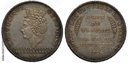 Switzerland Swiss Geneva Republic silver coin 1 one thaler 1794, allegoric femal Canvas Print