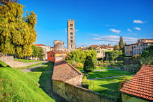 Basilica Di San Frediano And Gardens Of Palazzo Pfanner In Lucca.Tuscany, Italy