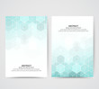 Set of bright banners. Design of vector geometric shapes of blue hexagons on an abstract background template.