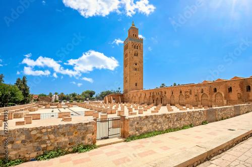 Photo Koutoubia mosque with minaret in Marrakesh