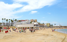 Playa La Caleta Beach At Cadiz...