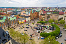 Aerial View Of The Malmo Center, Old Town In Sweden.