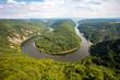The view of the Saarschleife (Saar loop) from the watchtower, the bend (meander) of Saar river. The valley, cliffs and hills in Orscholz, Mettlach, Saarland, Germany.