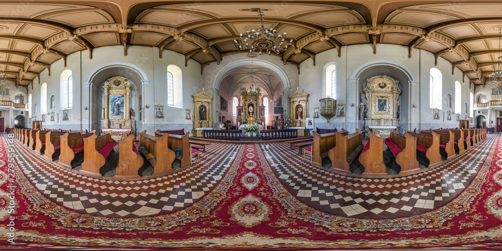 Fototapety, obrazy:  full seamless spherical hdri panorama 360 degrees angle view in interior gothic catholic basilica in equirectangular projection, AR VR content