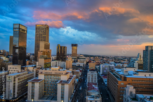 Johannesburg city skyline and hisgh rise towers and buildings