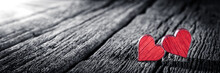 Banner Of Two Red Wooden Heart...