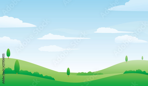 Nature landscape vector illustration. Meadow and bright sky vector illustration with simple design suitable for background or wallpaper
