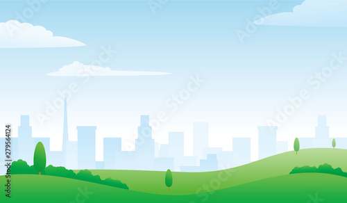 Fotografija  Meadow and city on the background with bright sky vector illustration suitable f