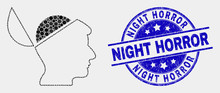 Pixelated Open Mind Mosaic Icon And Night Horror Seal. Blue Vector Round Scratched Seal Stamp With Night Horror Text. Vector Composition In Flat Style. Black Isolated Open Mind Mosaic Of Random Dots,