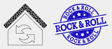 Dotted Refresh House Mosaic Pictogram And Rock & Roll Seal Stamp. Blue Vector Rounded Grunge Seal With Rock & Roll Message. Vector Collage In Flat Style.
