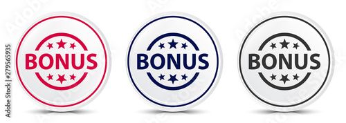 Bonus badge icon crystal flat round button set illustration design Canvas Print