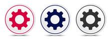Settings Icon Crystal Flat Round Button Set Illustration Design