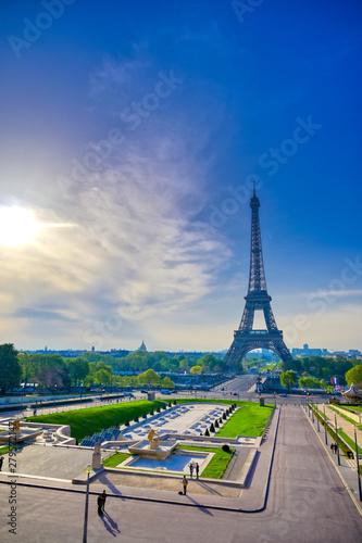 Poster de jardin Tour Eiffel A view of the Eiffel Tower from the Jardins du Trocadero in Paris, France.