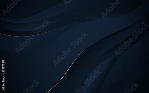 Obraz Abstract wavy luxury dark blue and gold background. Illustration vector - fototapety do salonu