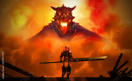 Foto auf Leinwand Rot kubanischen Digital illustration painting design style a man in Hi tech Armour suit hold sword standing against the Dragon in big explosion.