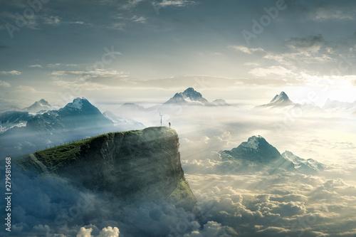 Bergsteiger genießt seine Freiheit Canvas Print