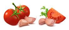Tomato And Garlic Set Isolated On White Background