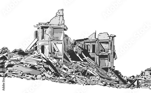 Illustration of collapsed building due to earthquake, natural disaster, explosio Fototapet