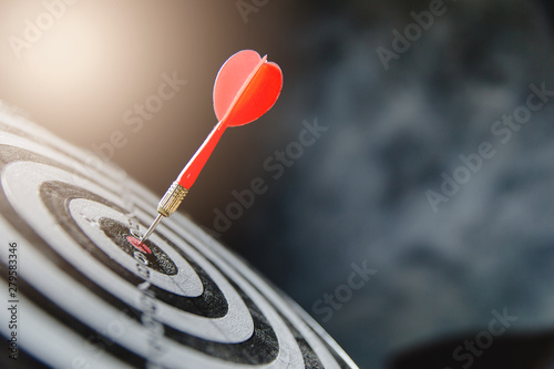 Obraz Dart arrow hitting in the target center of dartboard,business target - fototapety do salonu
