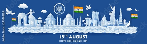 Fotografia  illustration of Famous Indian monument and Landmark for Happy Independence Day o