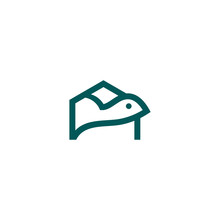 Turtle With Green Shell Swimming For Logo Design Illustration In A House Shape Home Icon Vector Graphic Outline